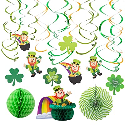JOYIN St. Patrick's Day Colorful Foil Hanging Swirls with Lucky Irish Green Shamrock and Leprechauns Saint Patricks Pot-O-Gold Centerpiece Tissue St Patricks Poms Party Decorations: Toys & Games