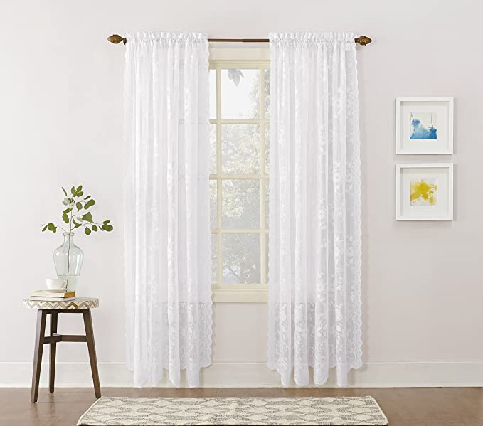 No 918 24517 Alison Floral Lace Sheer Rod Pocket Curtain Panel 58 X 63 White Home Kitchen