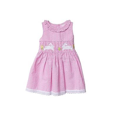 57b2e86f33db Amazon.com  Good Lad Pink Seersucker Bunny Smocked Dress (6)  Clothing
