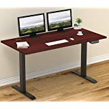 SHW 55-Inch Large Electric Height Adjustable Computer Desk, 55 x 28 Inches, Cherry