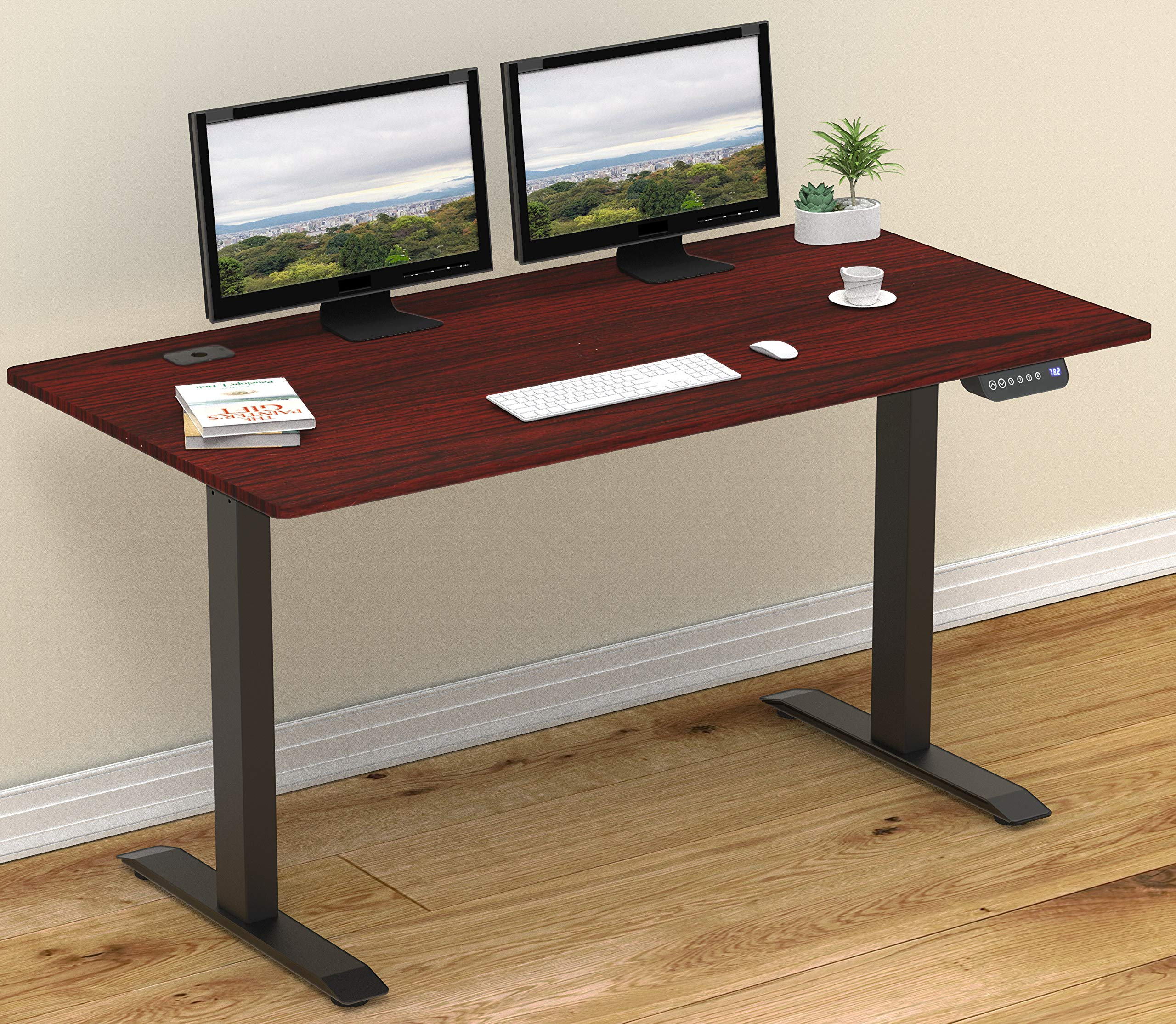 SHW 55-Inch Large Electric Height Adjustable Computer Desk, 55 x 28 Inches, Cherry by SHW