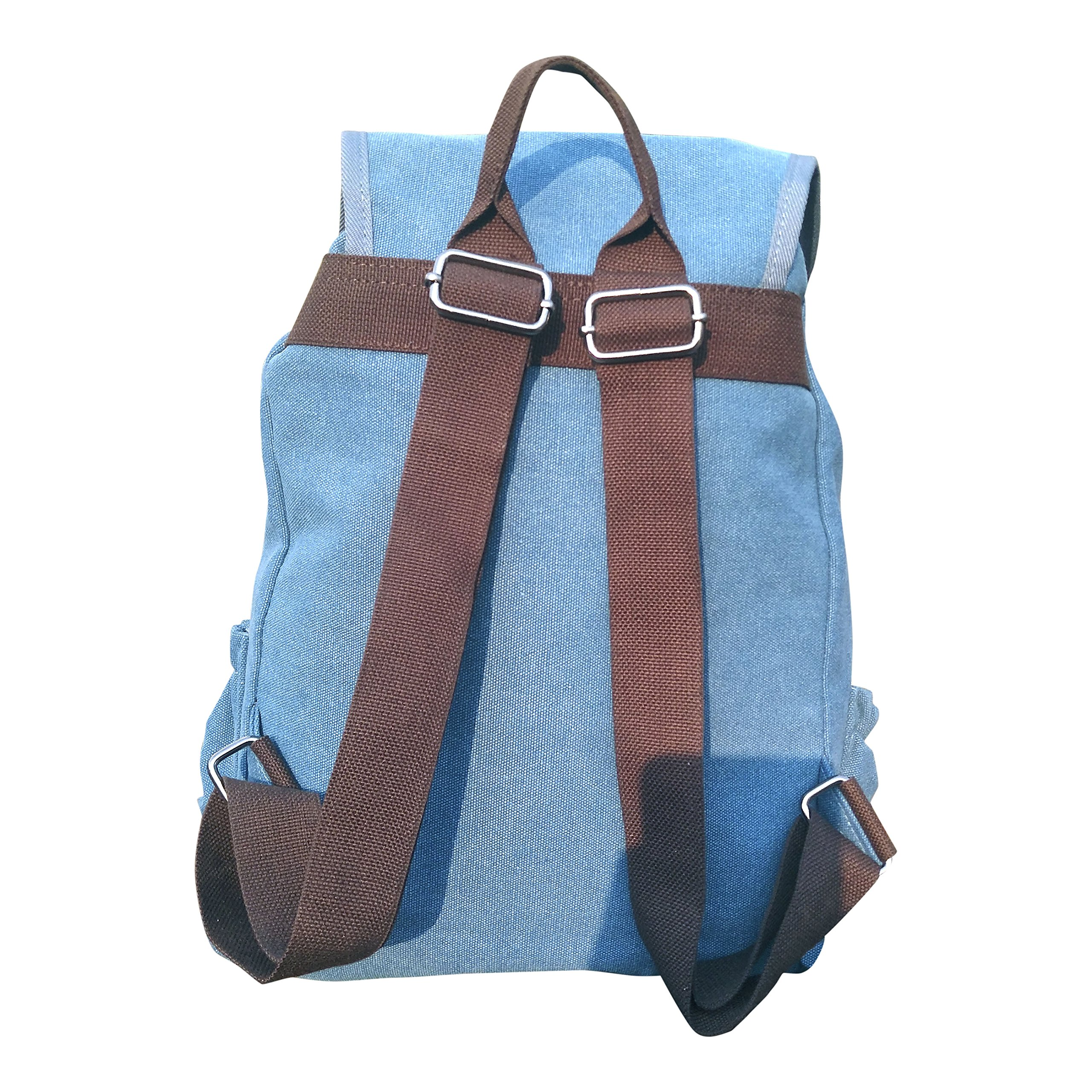 Classic Canvas Backpack for Hiking Camping Backpacking Trekking (Blue)