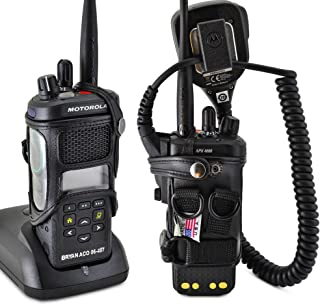 product image for Turtleback Carry Holder for Motorola APX 4000 Two Knob Radio Extended Battery with D Rings Attachment Fire and Police Two Way Radio Belt Case Black Leather Belt Holster Heavy Duty D Rings Made in USA