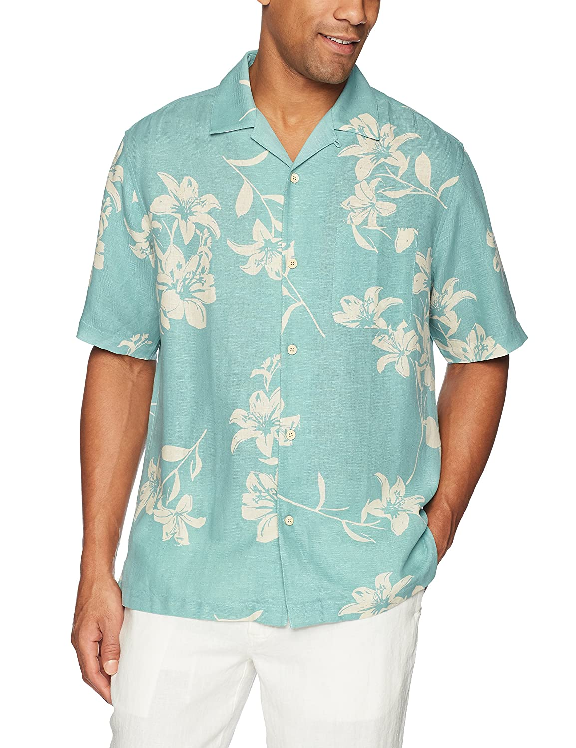 Amazon.com: 28 Palms Men\'s Relaxed-Fit Silk/Linen Tropical Hawaiian ...
