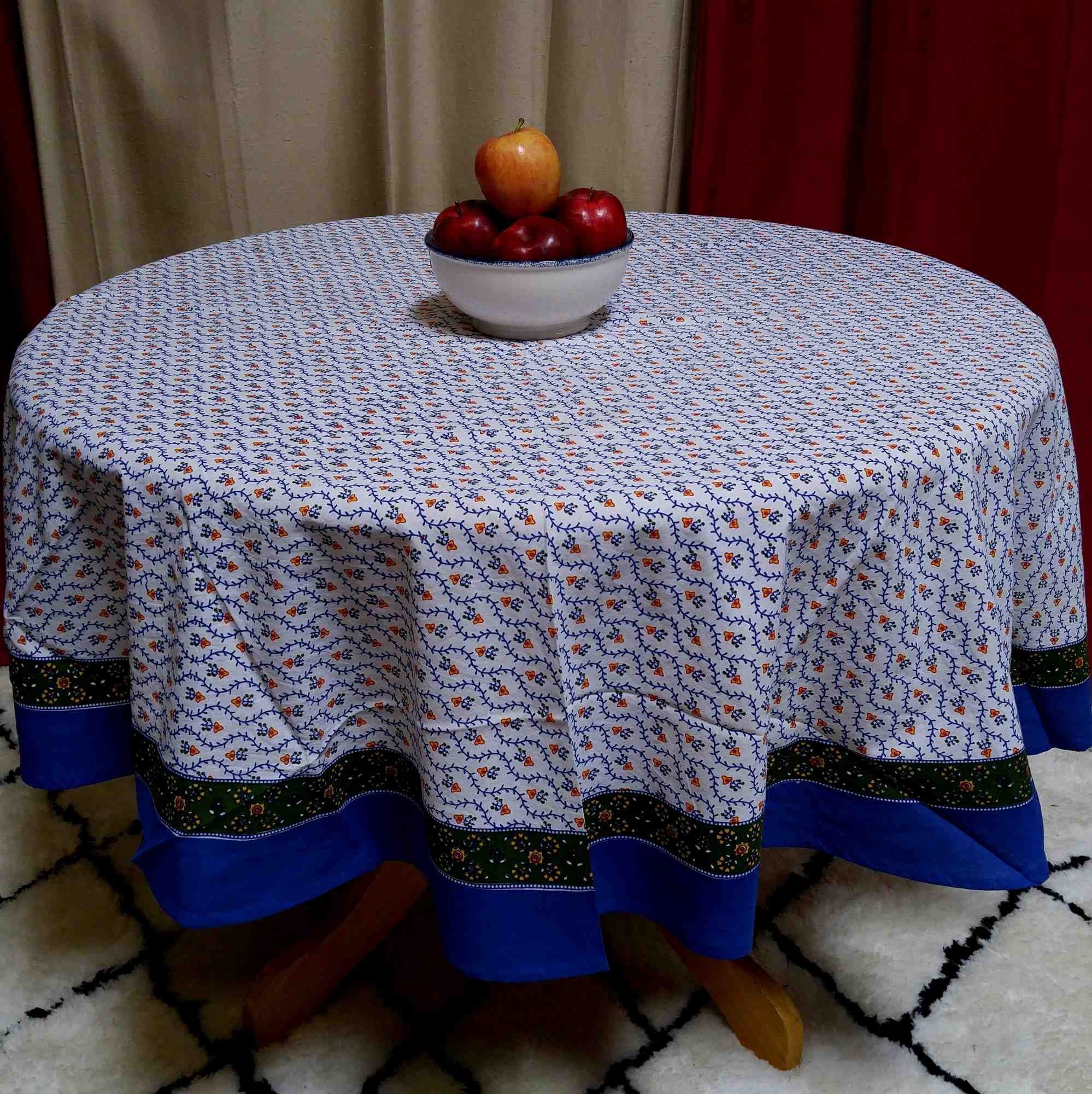 Handmade 100% Cotton Floral Tablecloth 60 Inch Round Blue Green Red