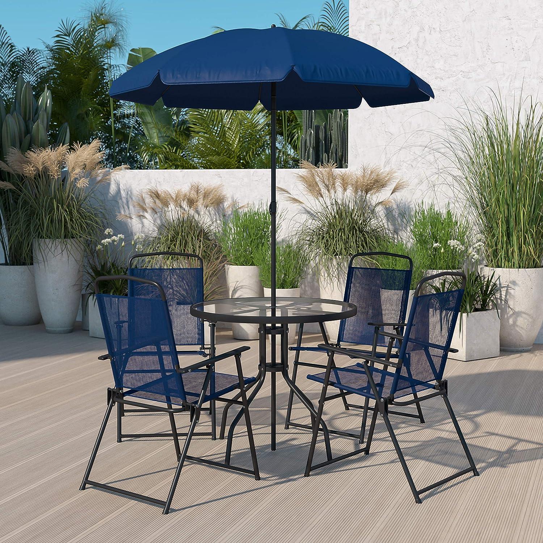 Flash Furniture Nantucket 6 Piece Patio Garden Table Set - Umbrella Table - Set of 4 Navy Folding Chairs