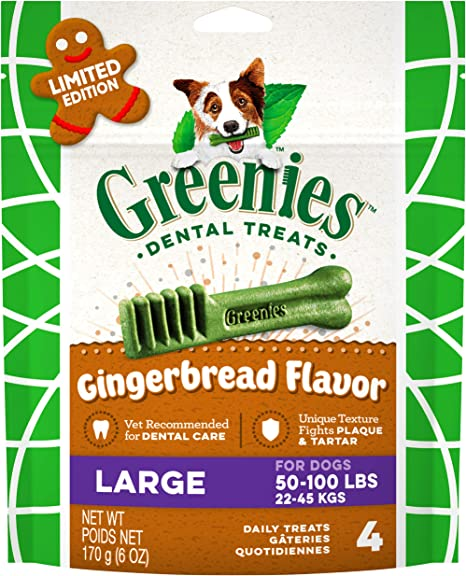 Greenies Holiday Gingerbread Flavor Dental Dog Treats