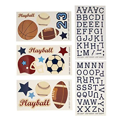 NoJo Play Ball, Wall Decals, Navy/Red/Indigo/Ivory/Brown: Baby