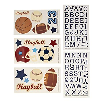 NoJo Play Ball Wall Decals Navy/Red/Indigo/Ivory/Brown  sc 1 st  Amazon.com & Amazon.com : NoJo Play Ball Wall Decals Navy/Red/Indigo/Ivory ...