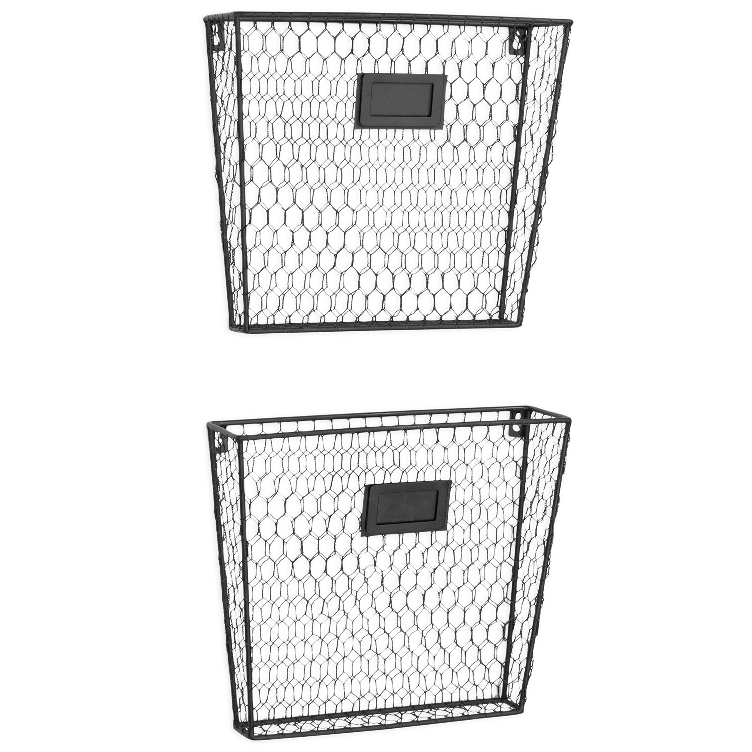 MyGift Rustic Chicken Wire Wall-Mounted Magazine & File Folder Baskets w/Chalkboard Label Inserts, Set of 2 by MyGift (Image #2)