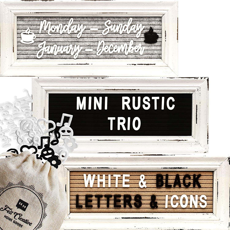 Mini Rustic Felt Letter Board Farmhouse Trio Changeable Message Boards by Felt Creative Home Goods Vintage Style Frames 3 Pack Bundle Black and White Letter Set Cursive Months Days (4x10)