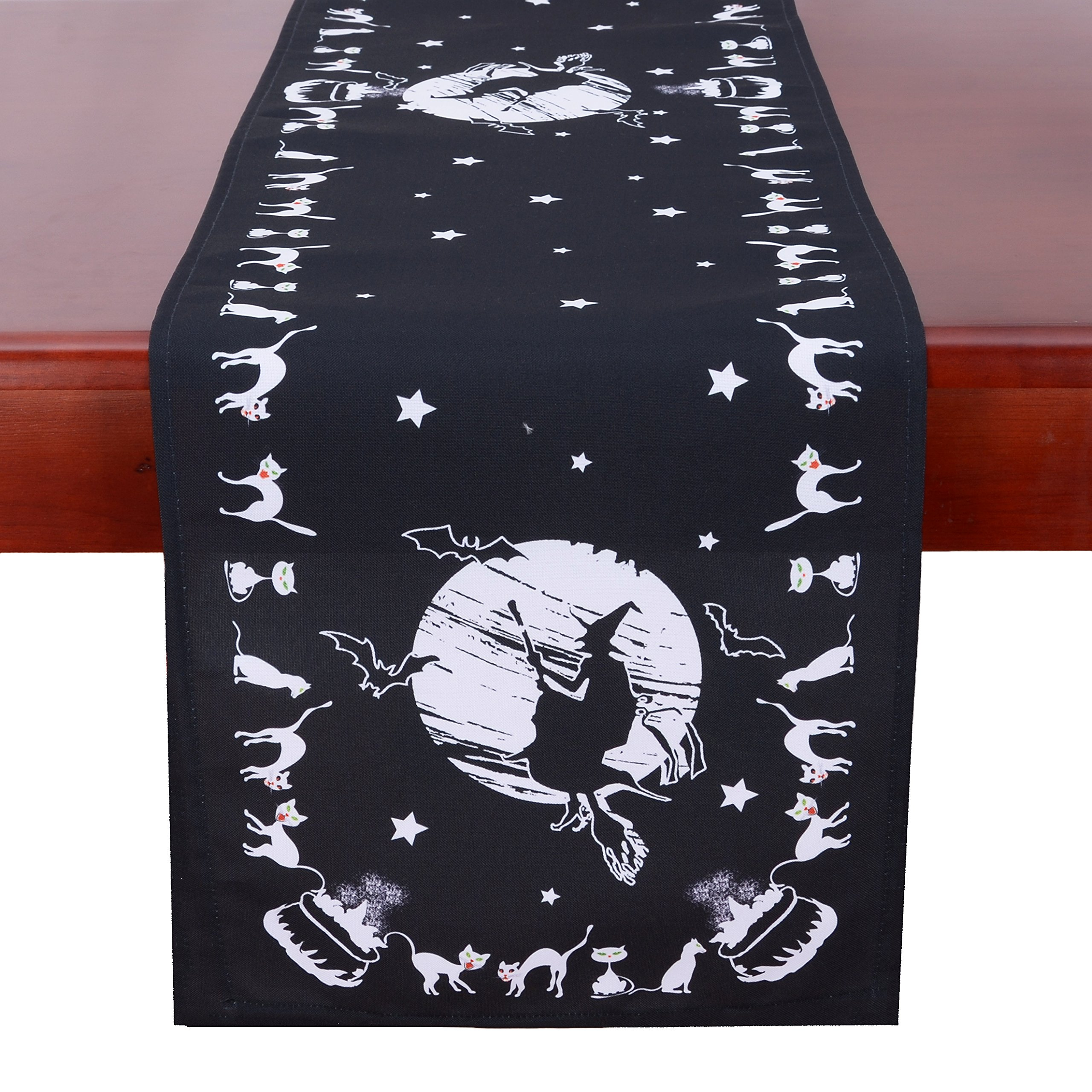 Simhomsen Halloween Table Runner for Dinner Party and Scary Movie Nights, Printed Spooky Wicked Witch (16 × 90 inch)