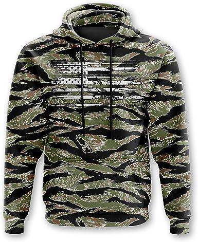 Hoody Crewneck Sweatshirt Distressed American Flag Skull Tactical
