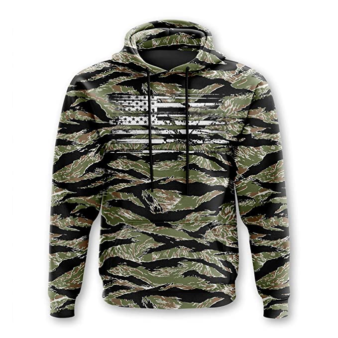 Tactical Pro Supply Army American Camo Flag Hoodie (Tiger Camo, XXL)