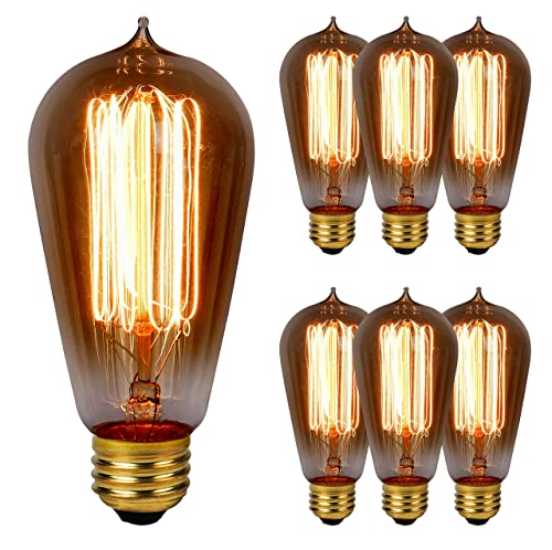 Lumenza Edison Bulbs ST64- 6 Pack- Squirrel Cage Filament Lamps- 60W- 120V- E26 Base- Vintage & Retro Style- Antique Lighting- Suitable For All Household Fixtures, Chandeliers, Lamps & More!