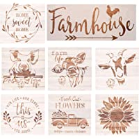 Farmhouse Stencils Farm Theme Reusable Stencils for Painting on Wood, Cow/ Sunflower/ Vintage Truck or Other Pattern…