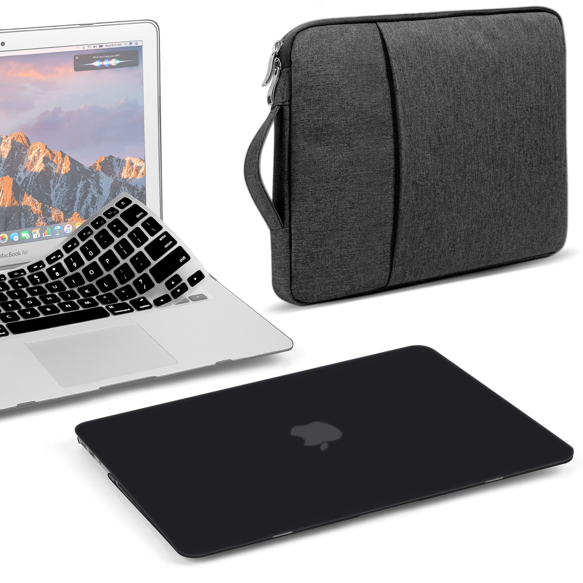 GMYLE 3 in 1 Bundle Black Set Soft-Touch Matte Plastic Hard Case for Macbook Air 13 inch (A1369/A1466) Water Repellent Laptop Sleeve with Handle and Pocket & with Silicon Keyboard Cover [US layout]