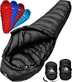 Hyke & Byke Quandary -10 Degree C Down Sleeping Bag for Backpacking and Camping, Ultralight Mummy Down Bag with Lightweight Compression Sack and Five (5) Color Options