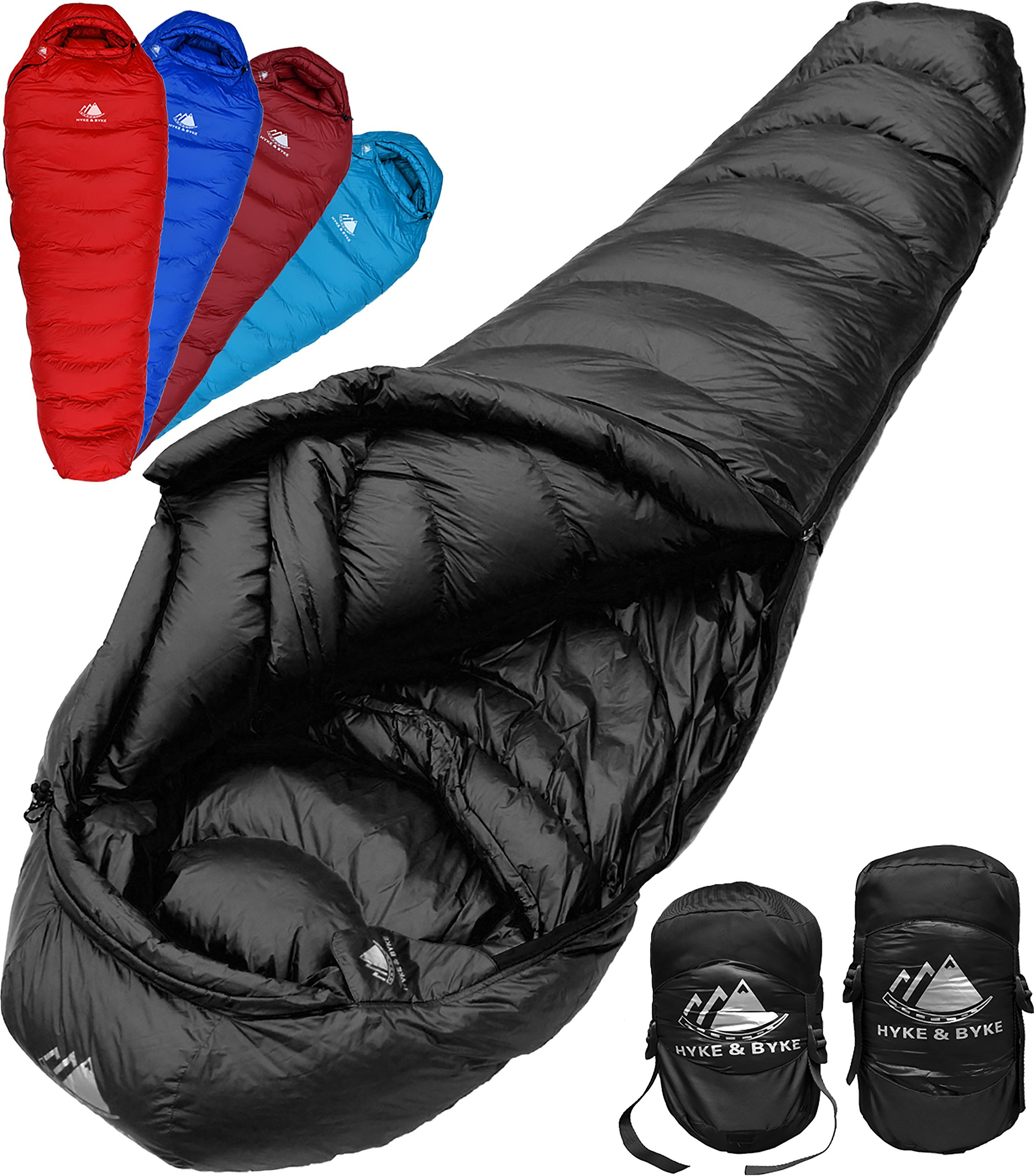 Hyke & Byke Quandary 15 Degree F 650 Fill Power Hydrophobic Down Sleeping Bag with ClusterLoft Base - Ultra Lightweight 3 Season Men's and Women's Mummy Bag Designed for Backpacking by Hyke & Byke
