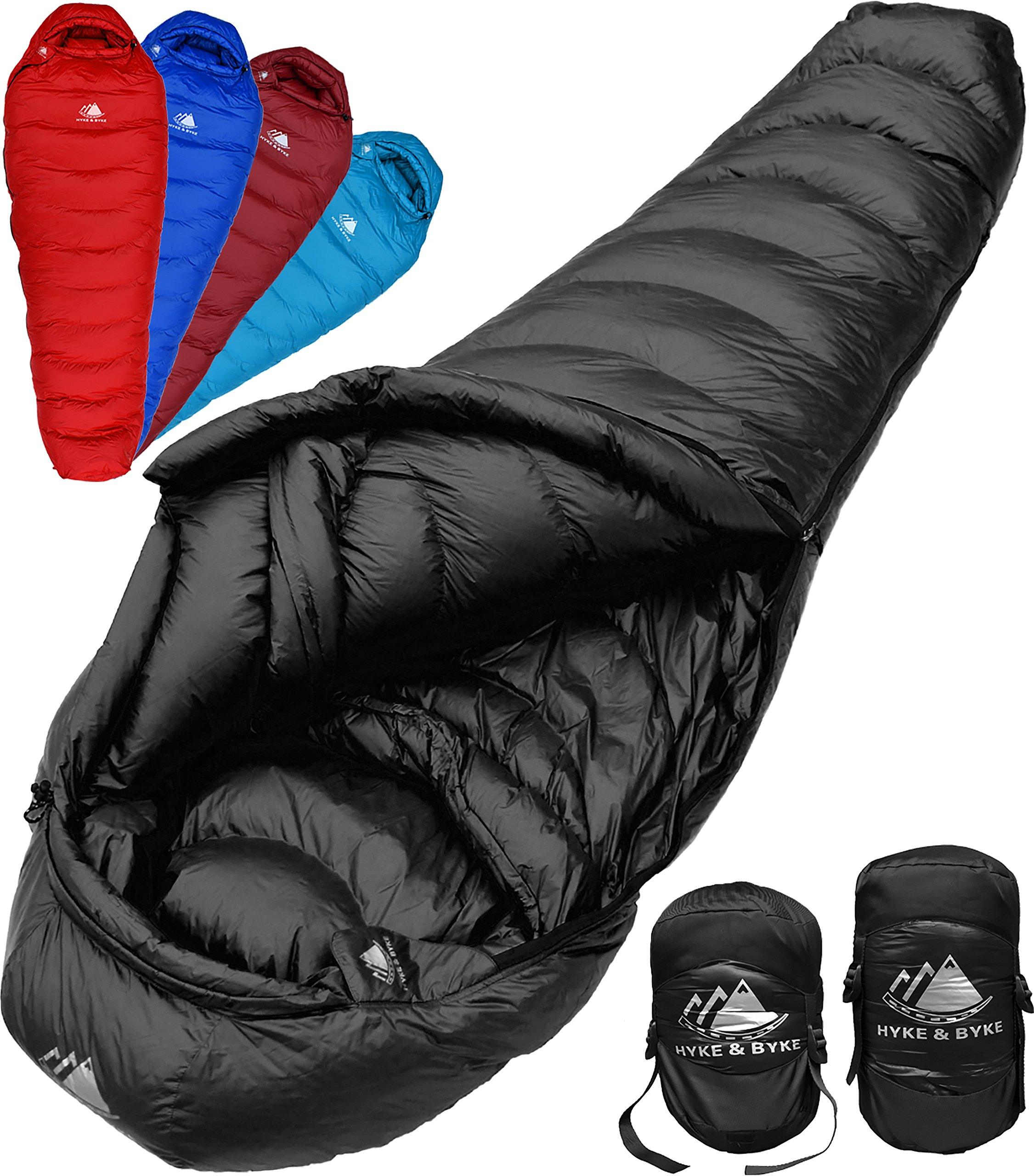 Hyke & Byke Quandary 15 Degree F 650 Fill Power Hydrophobic Down Sleeping Bag with ClusterLoft Base - Ultra Lightweight 3 Season Men's and Women's Mummy Bag Designed for Backpacking 3