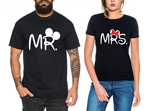 Mr Mrs Partnerlook camiseta de los pares dulce para parejas como regalos