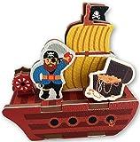 Checkered Fun Bath Toys For Toddlers - Pirate Ship Bath Toy - 10 Piece Foam Set With Organizer for Bathtub