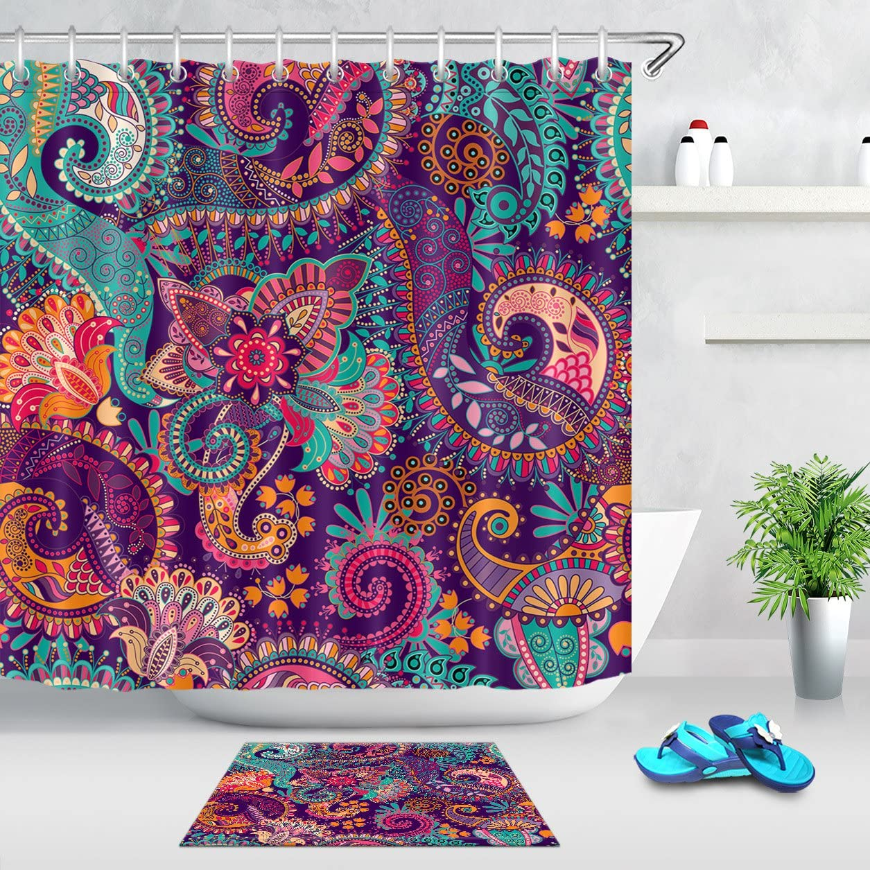 Paisley Fabric Shower Curtain Multi-Colors On White Very Pretty /& Colorful NEW