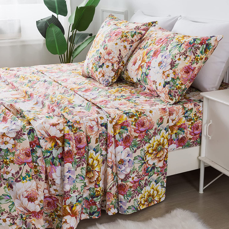 FADFAY Floral Sheets Set Queen 100% Cotton Shabby Garden Flower Pink and Orange Vintage Peony Bedding 600TC Elegant Cottagecore Bedding Super Soft Hypoallergenic Deep Pocket Bed Sheets Set, 4Pcs