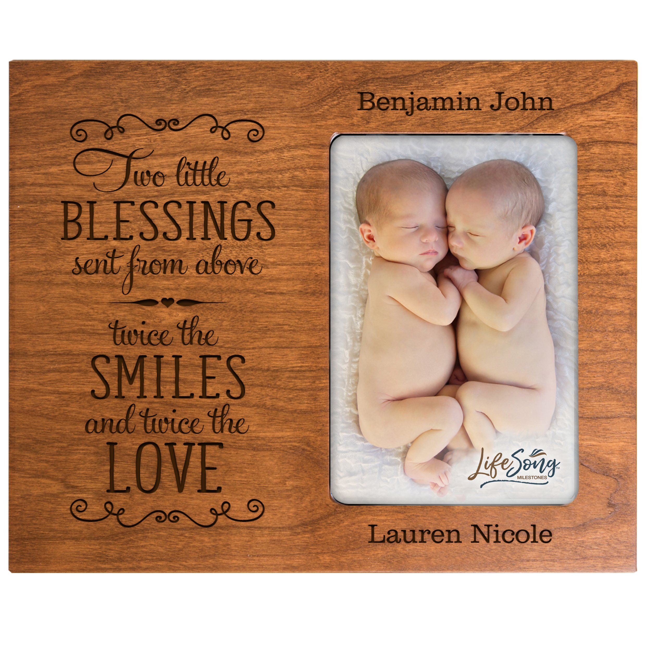 LifeSong Milestones Personalized New Baby Gifts for Twins Picture Frame for Boys and Girls Custom Engraved Photo Frame for New Parents Nana,Mimi and Grandparents (Cherry)