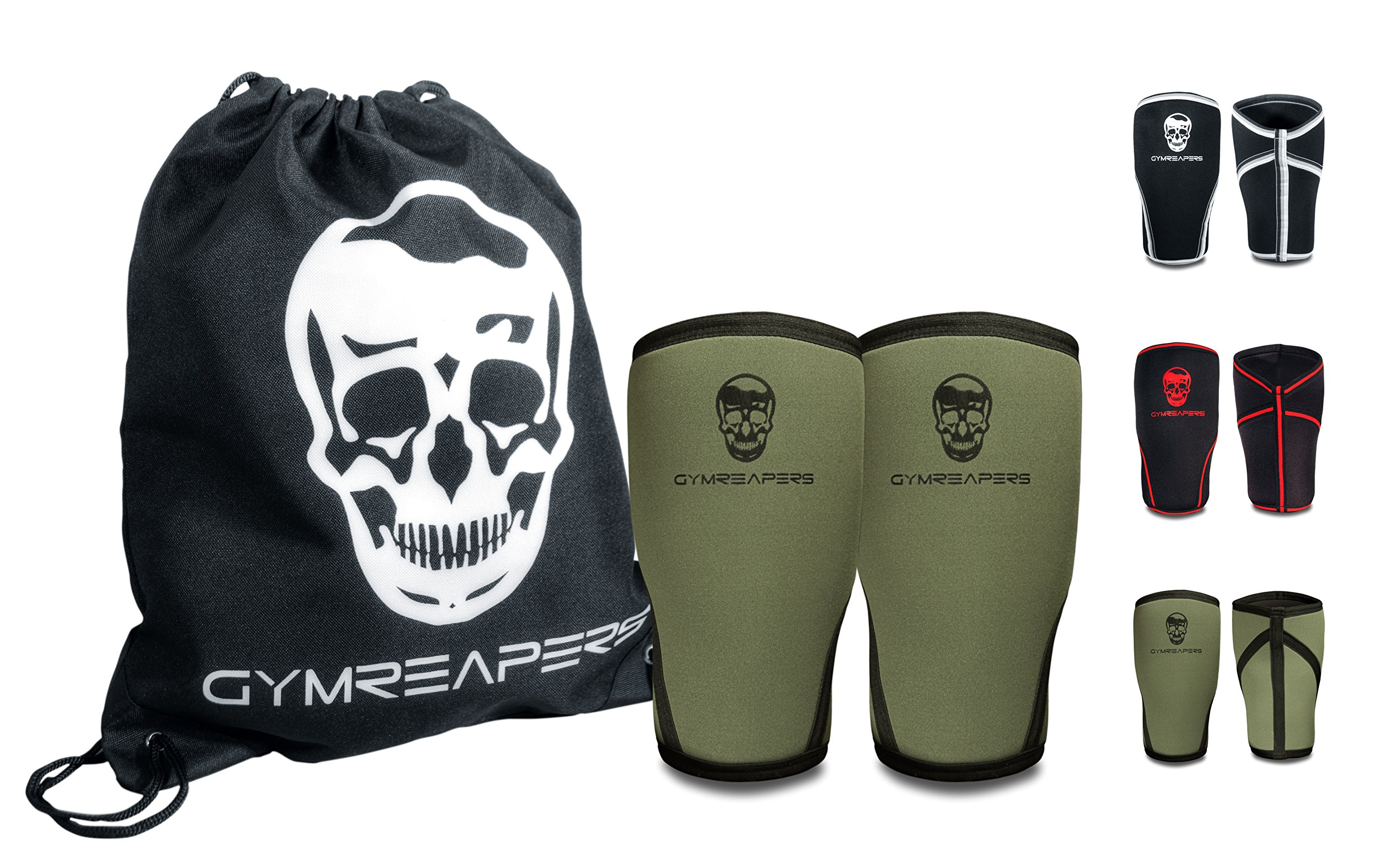 Knee Sleeves (Pair w/ Bag) - Knee Compression Sleeve Support for Squats, Weightlifting, and Powerlifting - Gymreapers 7MM Neoprene Sleeves - 1 Year Warranty (Military Green/Black, Large)