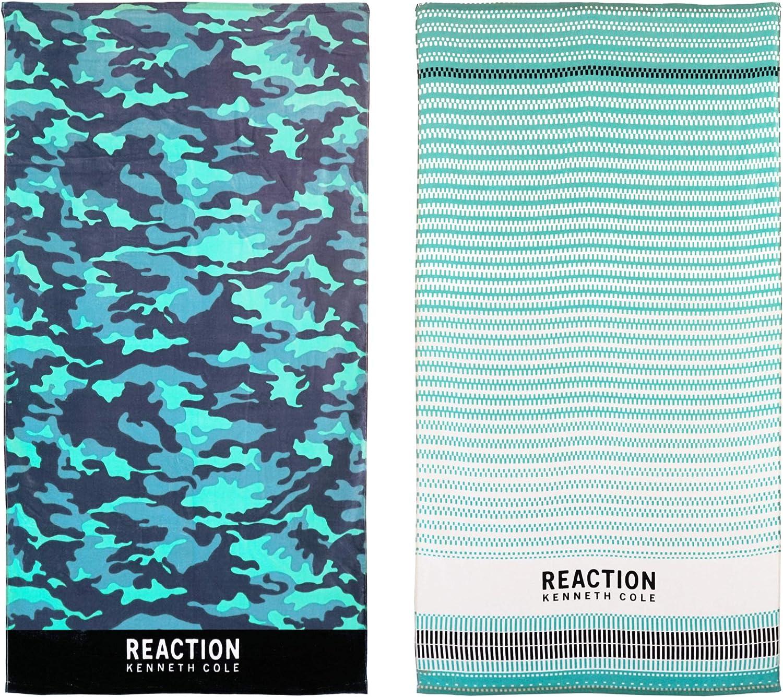 Kenneth Cole REACTION Camo/Geo 2 Piece Beach Towel Set, 68 x 36, Assorted