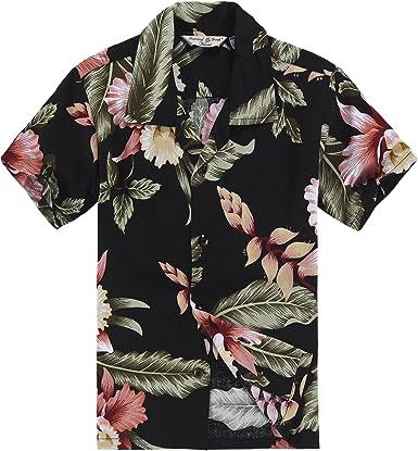 Chico Camisa Hawaiana o Conjunto de cabaña en Negro Rafelsia: Amazon.es: Ropa y accesorios