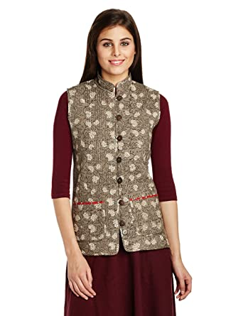Jaypore Women's Block Printed Cotton Quilted Jacket ... : cotton quilted jacket - Adamdwight.com