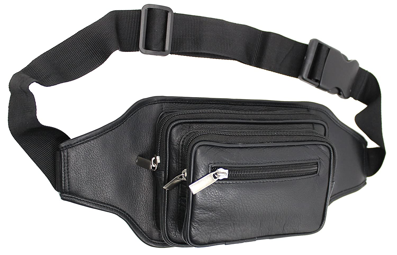 STARHIDE Mens Genuine Leather Waist Bum Bag Travel Pouch Pack Adjustable Belt Black 510
