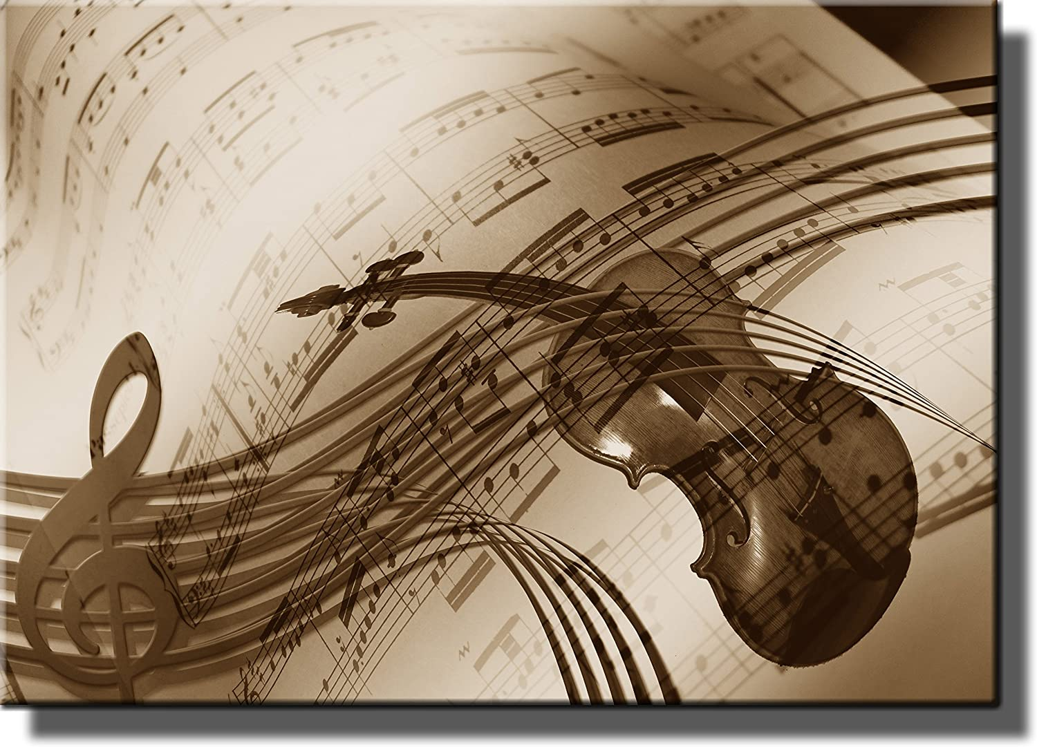 Music Notes Violin Picture Made on Stretched Canvas, Wall Art Decor Ready to Hang!.