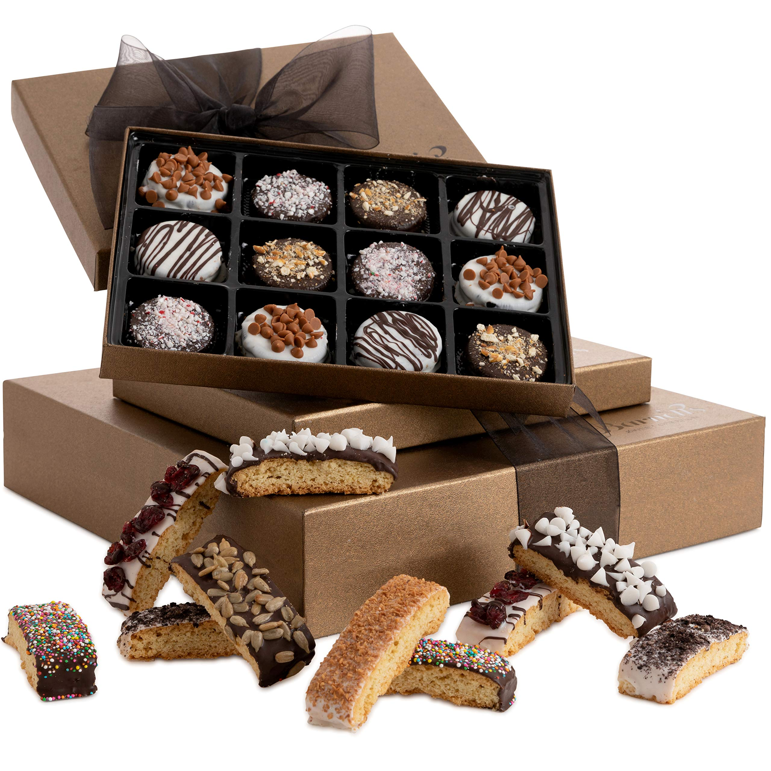 Barnett's Chocolate Cookies & Biscotti Gift Basket Tower, Unique Holiday Gourmet Cookie Gifts, Christmas Food Idea For Him Her Corporate Men Women Families Thanksgiving Valentines Fathers Mothers Day by Barnett's Fine Biscotti