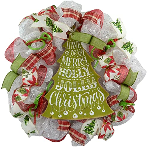 amazon com white christmas wreath christmas tree front door decor holiday wreath red green white handmade christmas tree front door decor