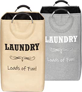 CAIVA Laundry Basket, Contemporary Style Collapsible Laundry Hamper, Perfect Clothes Hamper for Laundry and Storage (Beige)