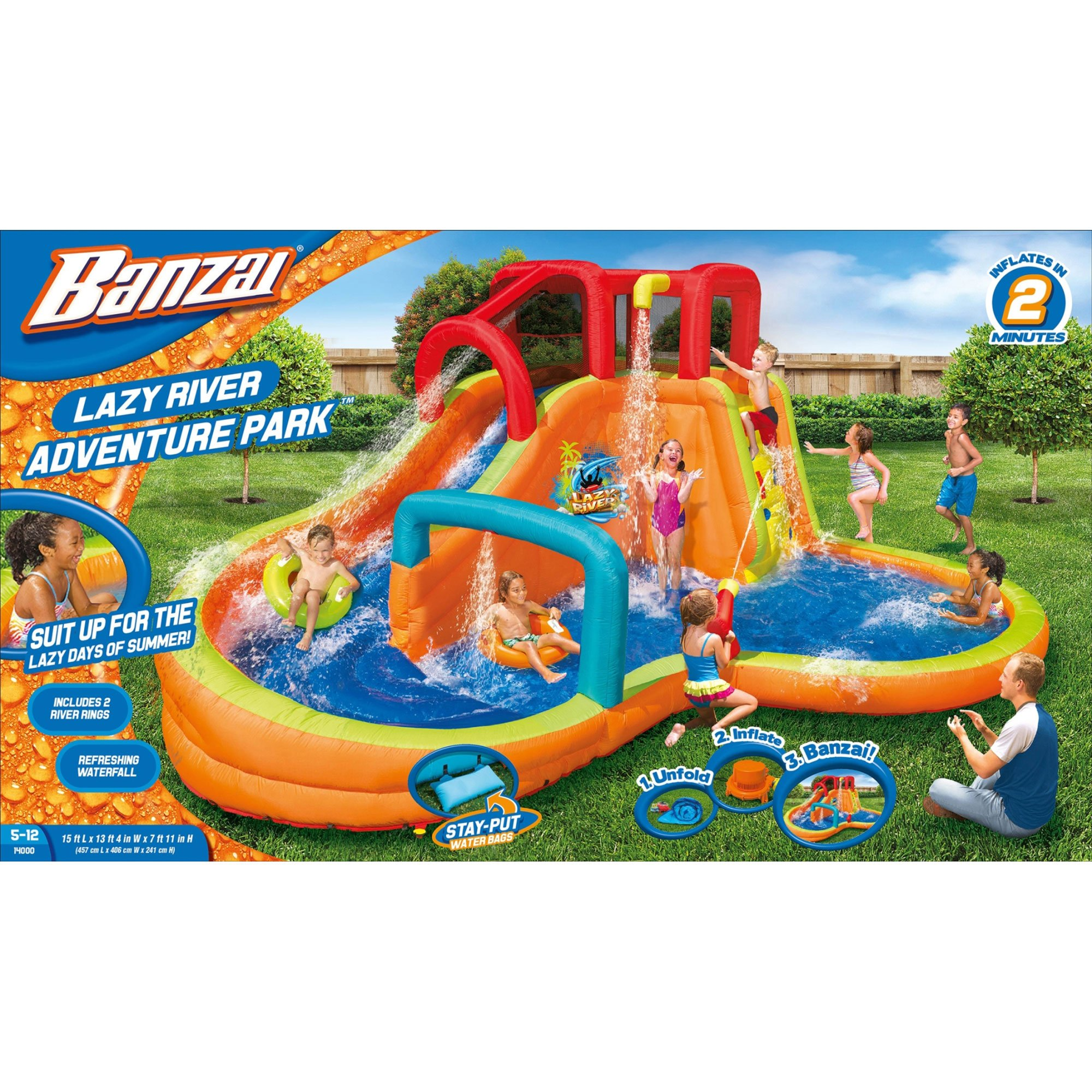 BANZAI Kids Inflatable Outdoor Lazy River Adventure Water Park Slide and Pool by BANZAI (Image #6)