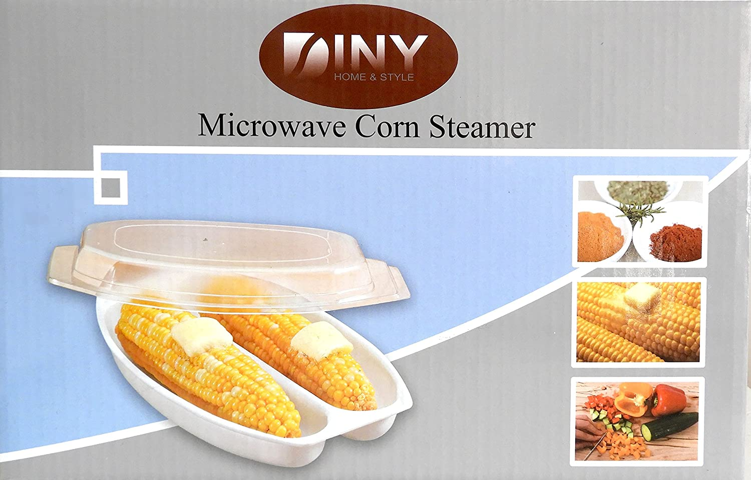 DINY Home Products Microwave Corn Steamer BPA Free Dishwasher Safe