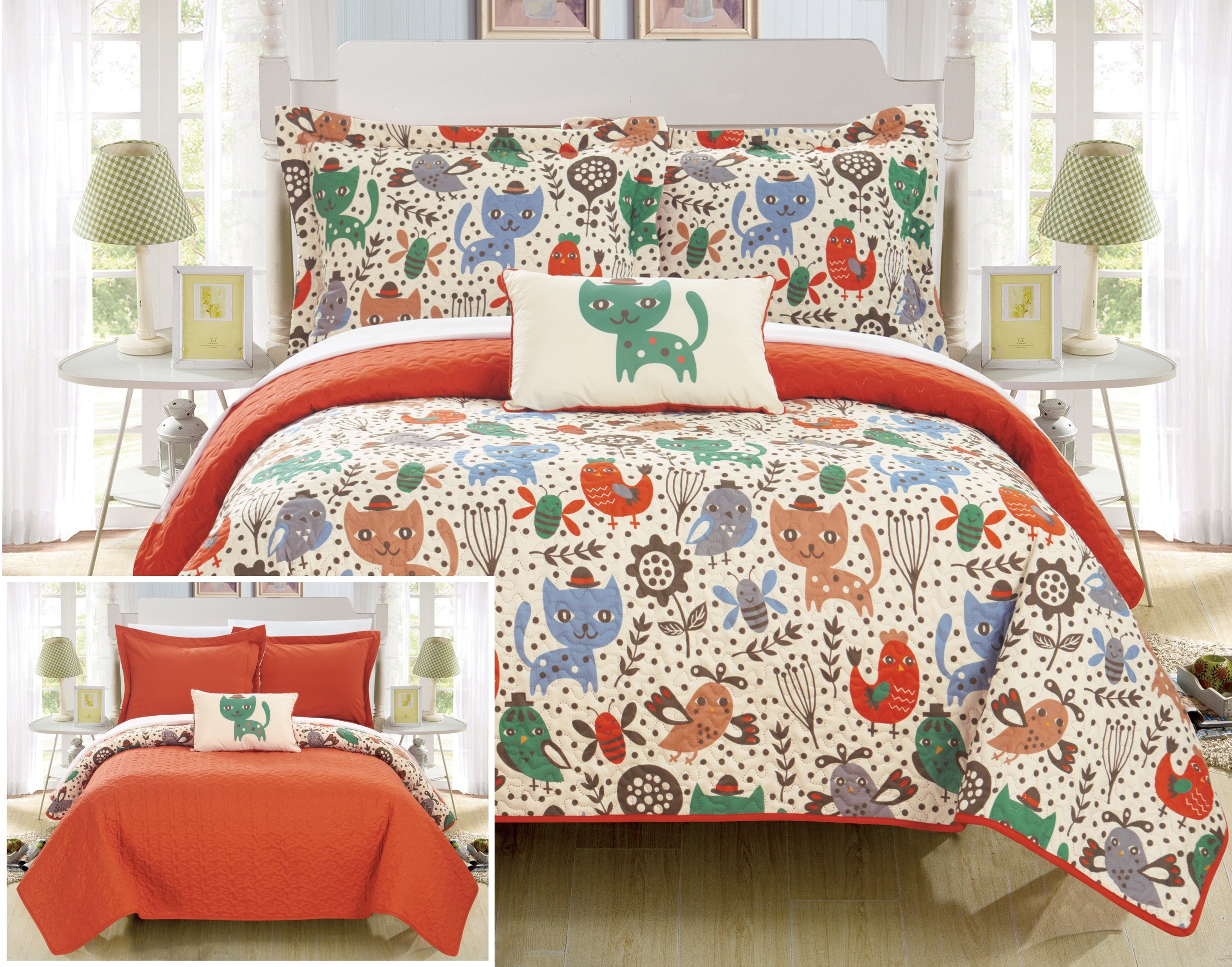 Chic Home Trixie 3 Piece Reversible Quilt Set Cute Animal Friends Youth Design Coverlet Bedding-Decorative Pillow Sham Included/XL Size, Twin, Orange
