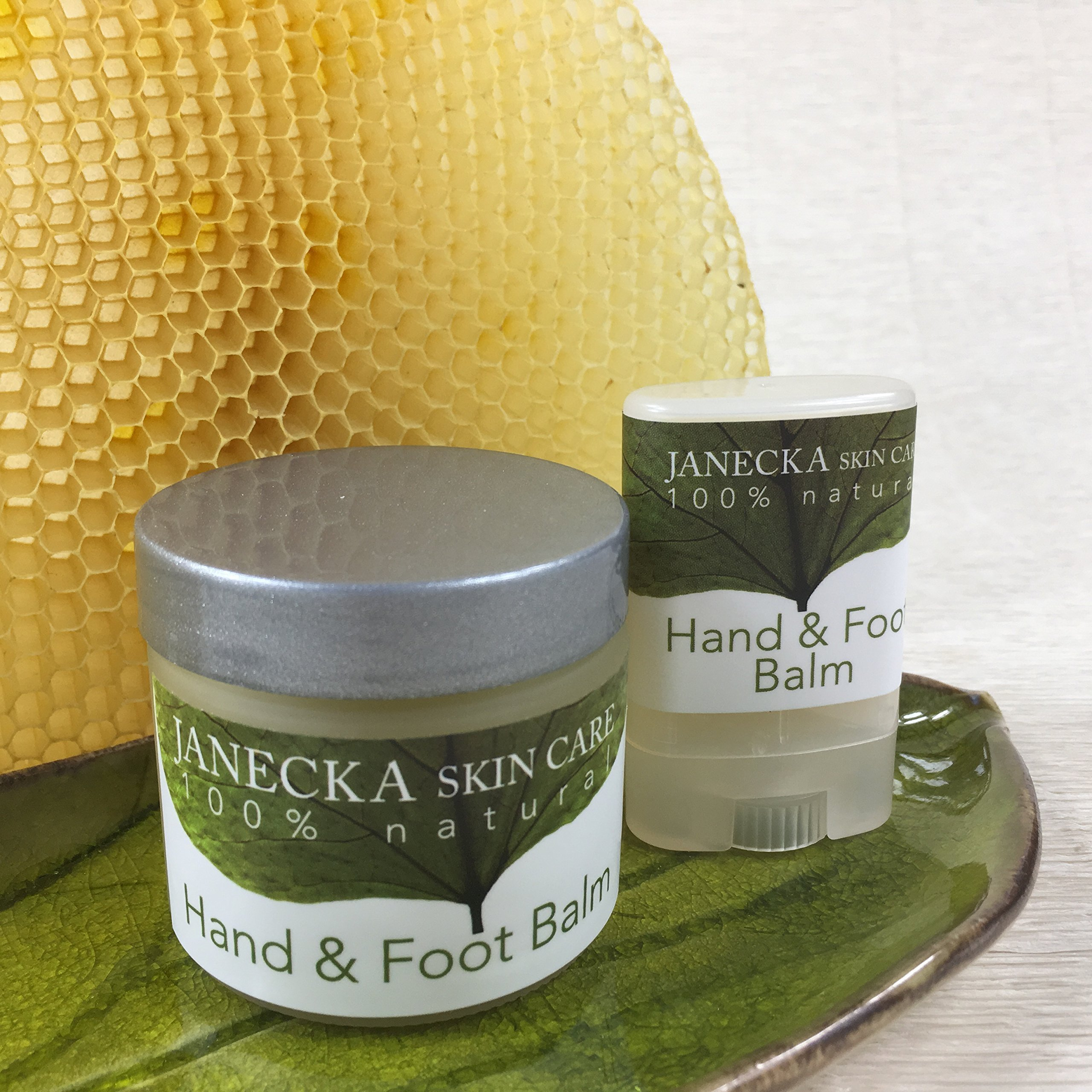 JANECKA Hand & Foot Balm ( 2 oz Jar and .35 oz Travel Size ) Excellent for eczema and psoriasis.