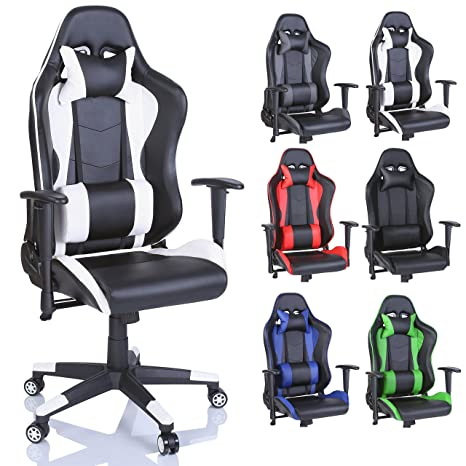 TRESKO Silla de oficina Racing Gaming silla de escritorio ordenador giratoria dirección, disponible en 6