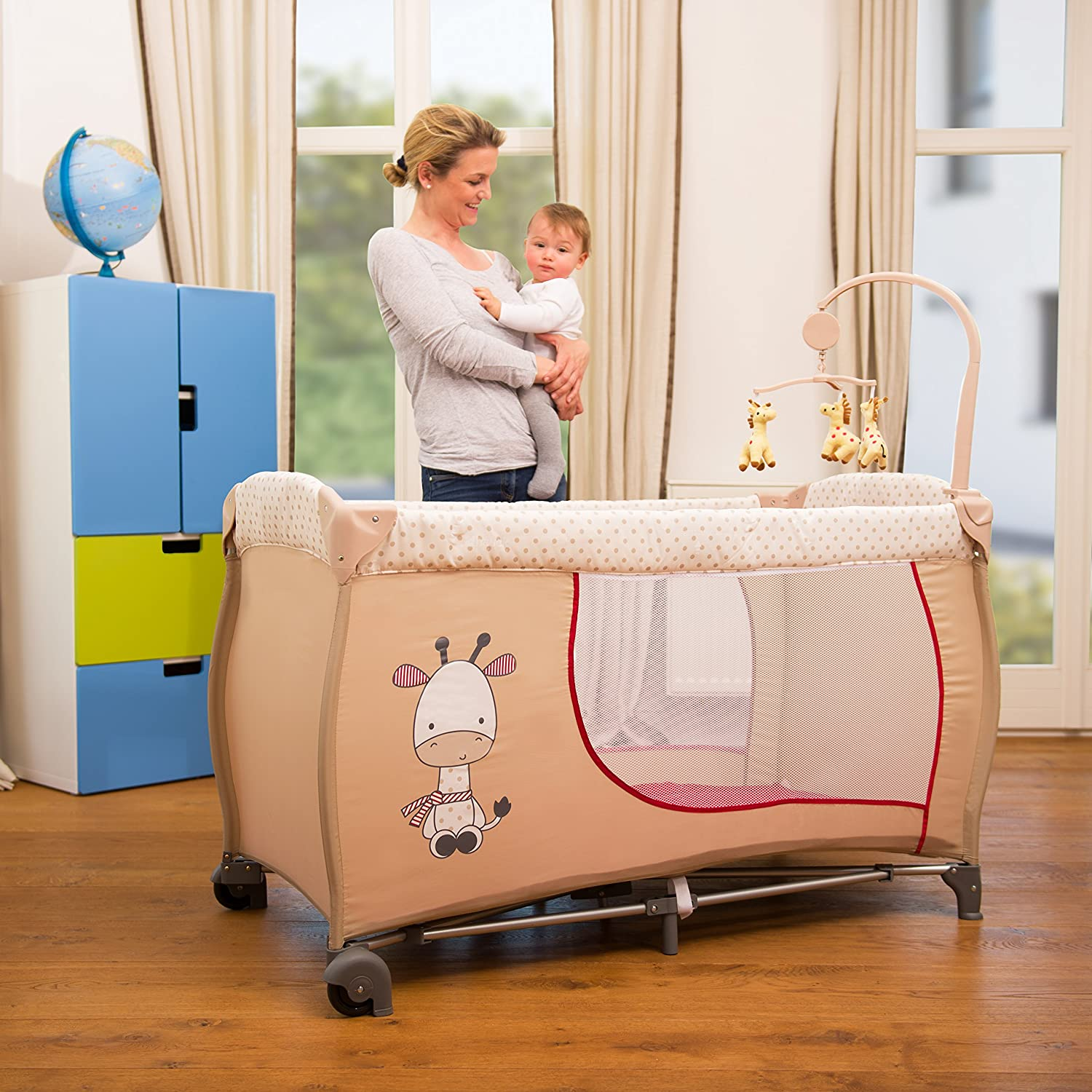 Hauck Baby Center Travel Cot Plus Bed Me Travel Cot Sheet Giraffe