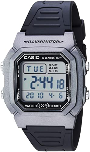 Casio Mens Classic Quartz Stainless Steel and Resin Watch, Color:Black (Model: W-800HM-7AVCF