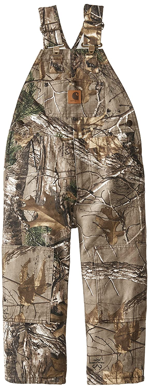 Carhartt Little Boys' Washed Camo Bib Overall, Realtree Xtra, 7 CM8662