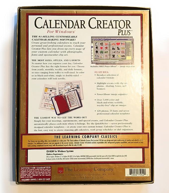 amazon com calendar creator plus gold edition