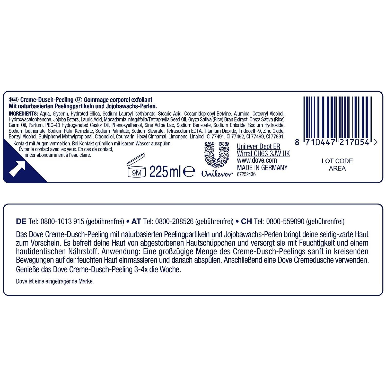 Dove Crema de ducha exfoliante de macadamia & Arroz Leche, 4 unidades (4 x 259 g): Amazon.es: Belleza