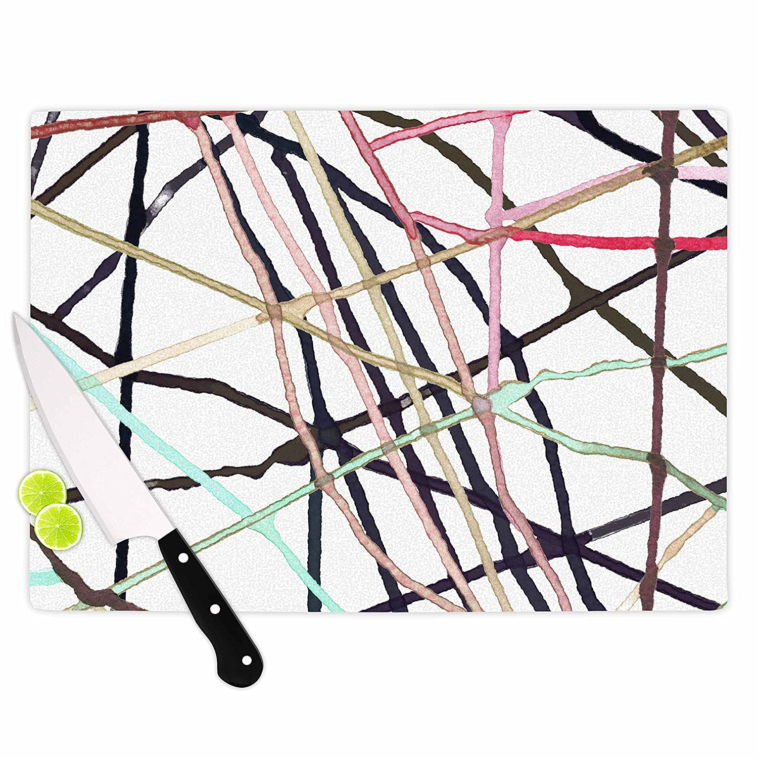 Multicolor KESS InHouse PatternmuseLove Tangle Brown Green Watercolor Cutting Board 11.5 x 15.75