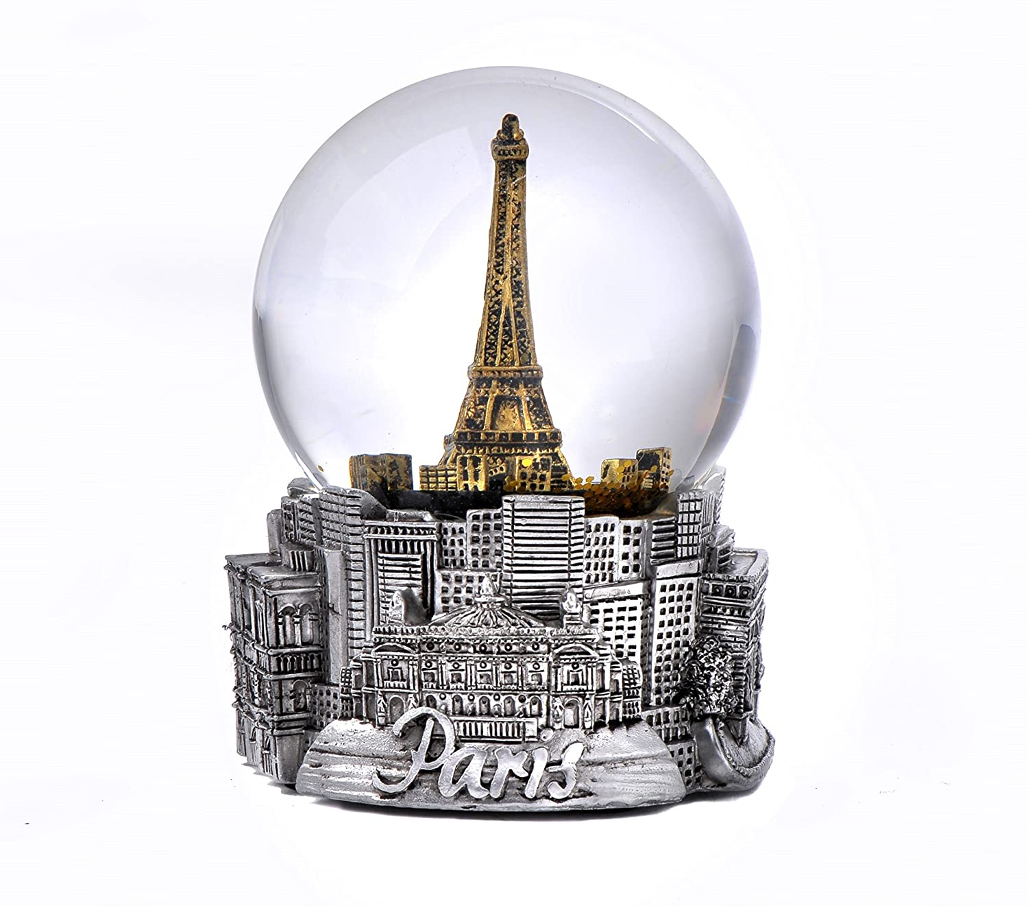 Paris France Eiffel Tower Snow Globe in Silver and Gold Exclusive 65mm Zizo